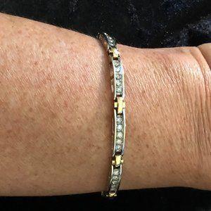 14K Two Tone Diamond Tennis Bracelet